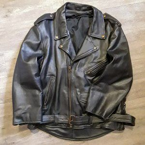 Black belted zip up faux leather biker moto jacket